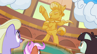 Ponies looking at Gladmane's statue S6E20