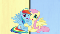 Rainbow Dash and Fluttershy hugging S7E14