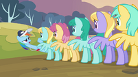 Rainbow looking at a line of pegasi S2E22