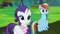 Rarity and Dash looking at Bufogren S8E17