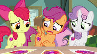 Scootaloo pointing at her cutie mark S9E12