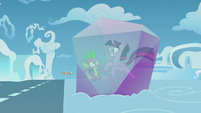 Twilight and Spike stuck in crystal S5E25