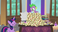 Twilight places Spike on top of the pile S8E15