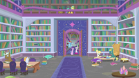 Wide view of School of Friendship library S8E17