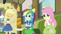 Applejack, Rainbow and Fluttershy wearing pony ears EG