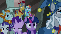 Main ponies and Pillars hear Pony of Shadows approaching S7E26