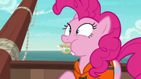 Pinkie with cucumber sandwich stuffed in her mouth S6E22