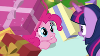 Twilight finds Pinkie under the gift box BGES2