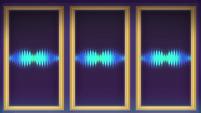 Blue equalizer waves on DJ's projector CYOE12b