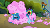 Rainbow Dash covered in cotton candy S6E7