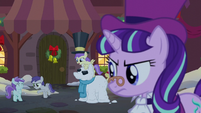 Tornado Bolt throws a snowball at Liza Doolots; Snowfall gives a stern look S06E08