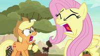 Applejack and Fluttershy scream in terror S8E23