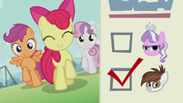CMC sings 'You gotta vote for change'; ballot paper shows Pipsqueak's checkbox ticked S5E18