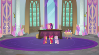Cutie Mark Crusaders in Twilight's office S8E12