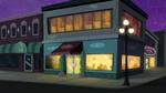 Human world cafe exterior nighttime EG2
