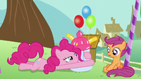 Pinkie brings the balloon baby bottle back to ground S5E19