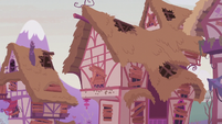 Ponyville houses damaged and boarded up S5E25