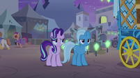 Starlight and Trixie watch Hoo'Far leave S8E19