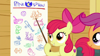 Apple Bloom points to dancing on the chart S6E19