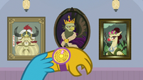 Gallus' shield points to portrait of King Grover S8E15