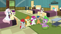 Nurse Redheart and foals listening to Spike S7E3
