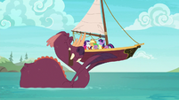 Ponies and tri-horned bunyip group hug S6E22