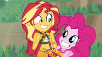 Sunset and Pinkie grin with excitement EGDS17