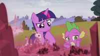 Twilight and Spike in deep thought S5E25