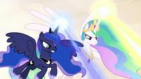 Celestia and Luna firing magic from above S9E2