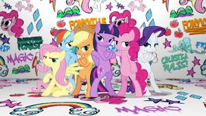 Mane Six group pose in Fresh Princess music video.png