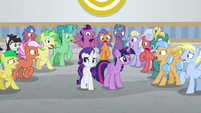 Ponies gasping in shock at Twilight S8E16
