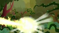 Princess Celestia's magic blasting the vines S9E2