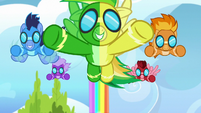 The Wonderbolts covered in rainbow water S7E7