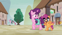 Disguised Scootaloo asks Sugar Belle for a village tour S7E8