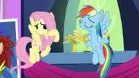 Fluttershy unsure about Rainbow's decorative choices S5E3