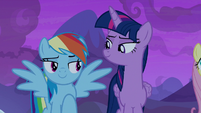 Rainbow Dash outstretching her wings S7E11