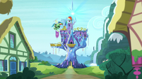 Rainbow flies away from Twilight's castle S5E5