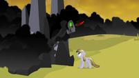 Sombra looks down at Crystal Pony S3E02