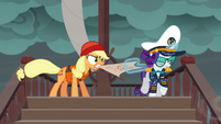 Applejack and Rarity fight over the map S6E22