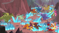 Dragons breathing blue fire on the eggs S9E9