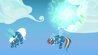 Fireworks explode behind Rainbow and Fleetfoot S7E7