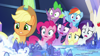 Mane Six and Spike looking very worried S8E15