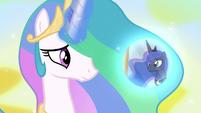 Princess Celestia conjures Luna's dream bubble S7E10
