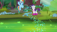 Rainbow and Rarity look at the swamp S8E17