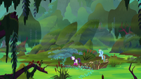 Rainbow and Rarity reach other end of swamp S8E17