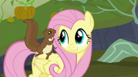 Squirrel squeaking in Fluttershy's ear S5E23