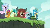 Young Six look over the edge of the cliff S8E9