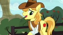 Braeburn looking at his injured hoof S5E6