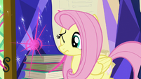 Fluttershy flinches from Twilight's teleporting portfolio S5E23