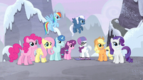 Main 5 and village ponies listening to Twilight S5E02